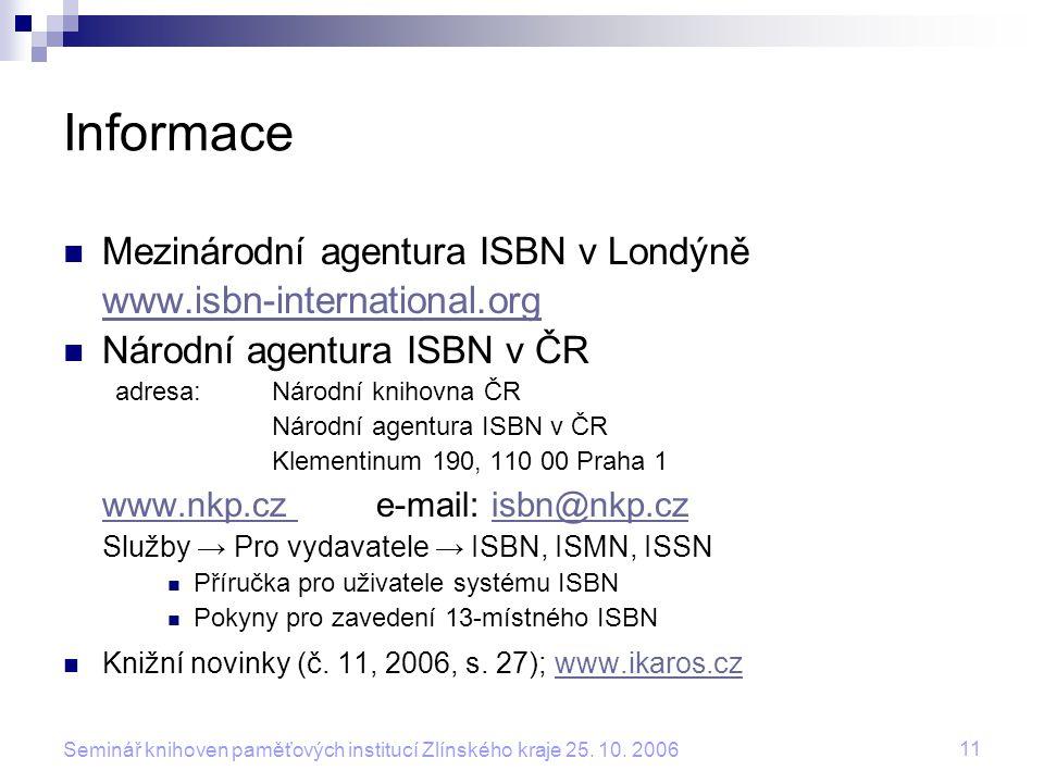 Informace Mezinárodní agentura ISBN v Londýně