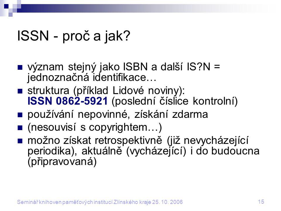 ISSN - proč a jak význam stejný jako ISBN a další IS N = jednoznačná identifikace…