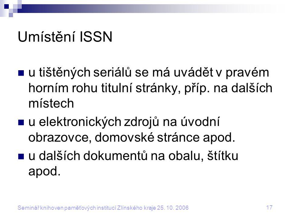 Umístění ISSN u tištěných seriálů se má uvádět v pravém horním rohu titulní stránky, příp. na dalších místech.