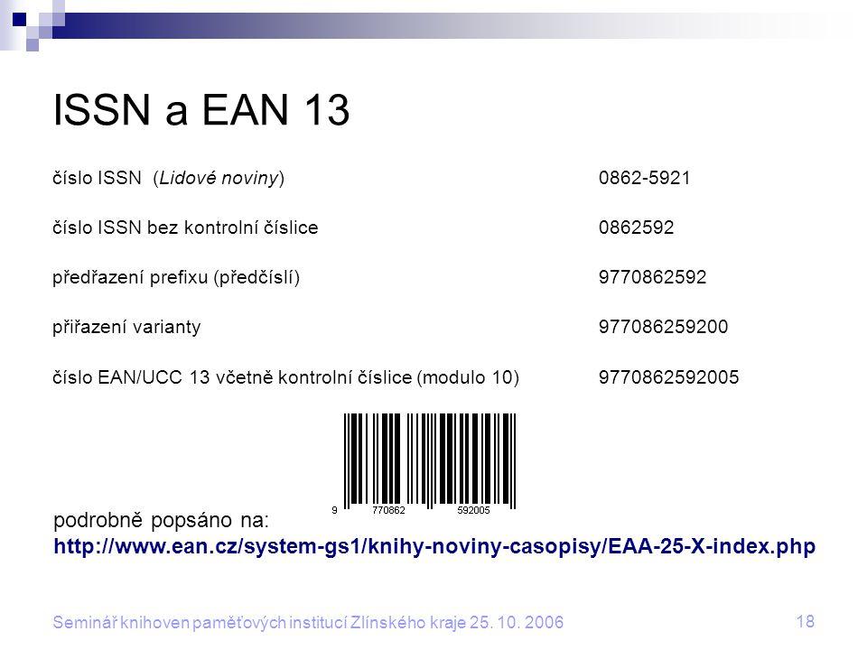 ISSN a EAN 13 podrobně popsáno na: