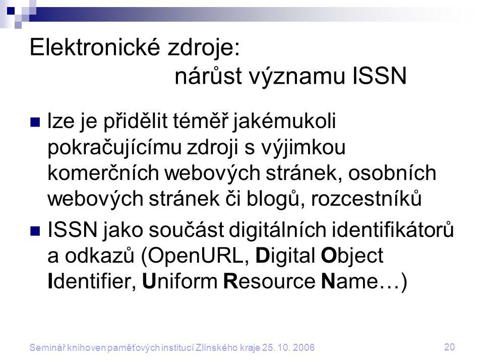 Elektronické zdroje: nárůst významu ISSN