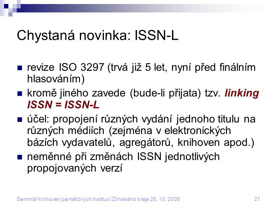 Chystaná novinka: ISSN-L