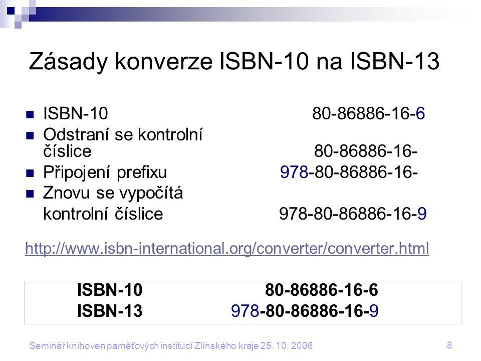 Zásady konverze ISBN-10 na ISBN-13