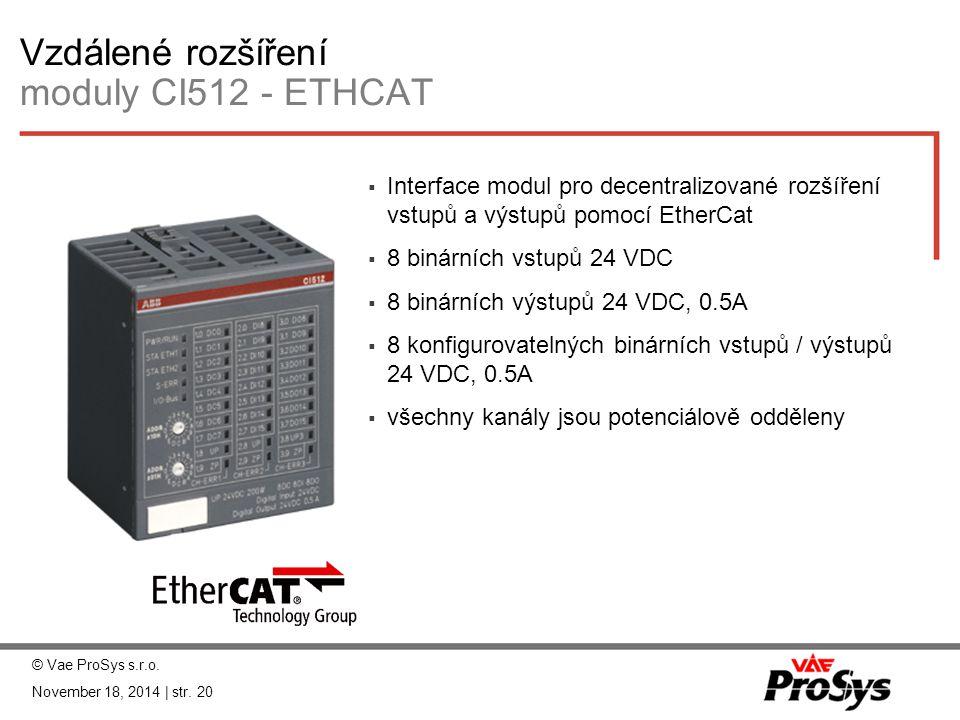 Vzdálené rozšíření moduly CI512 - ETHCAT