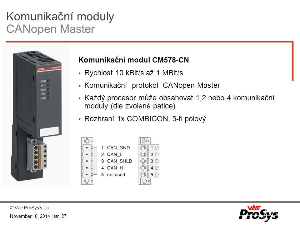 Komunikační moduly CANopen Master