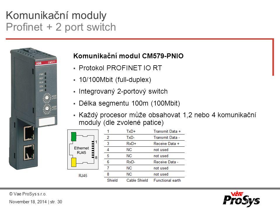Komunikační moduly Profinet + 2 port switch