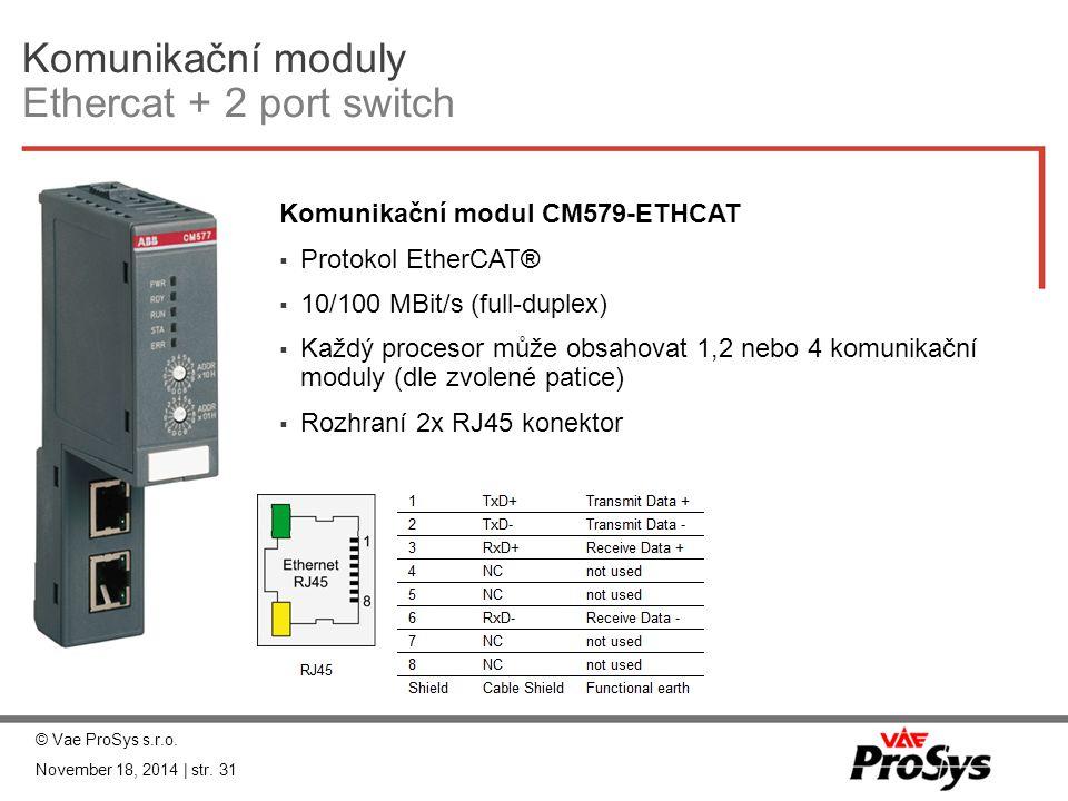 Komunikační moduly Ethercat + 2 port switch
