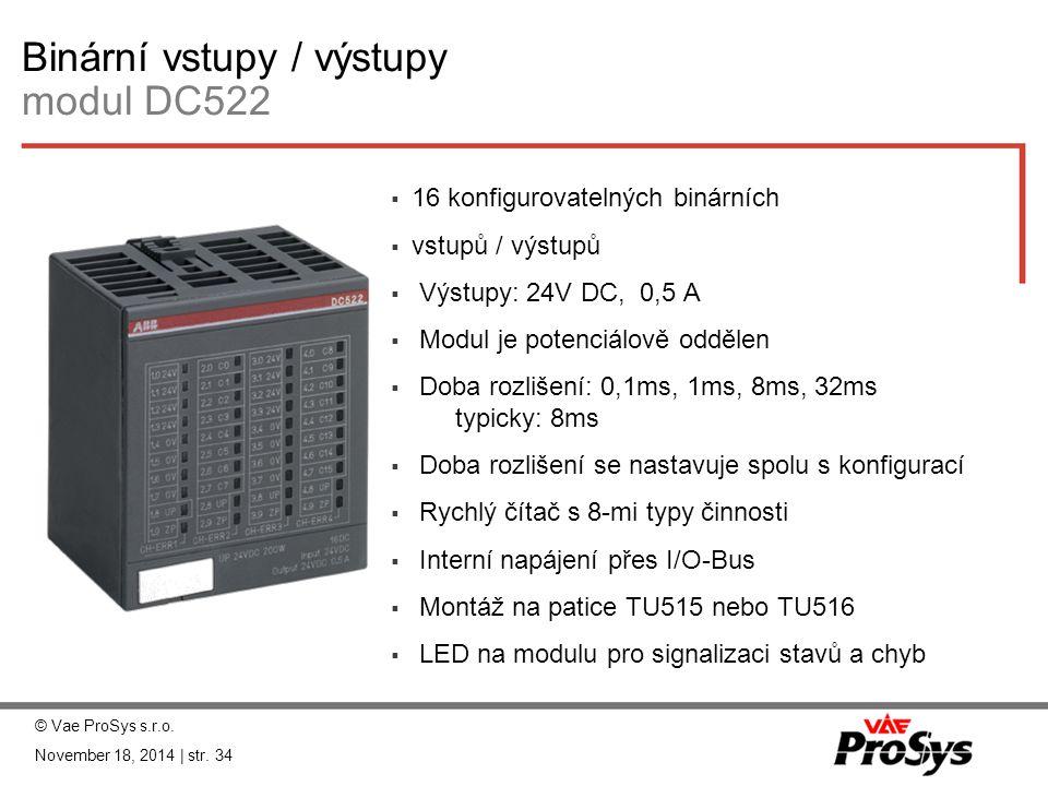 Binární vstupy / výstupy modul DC522