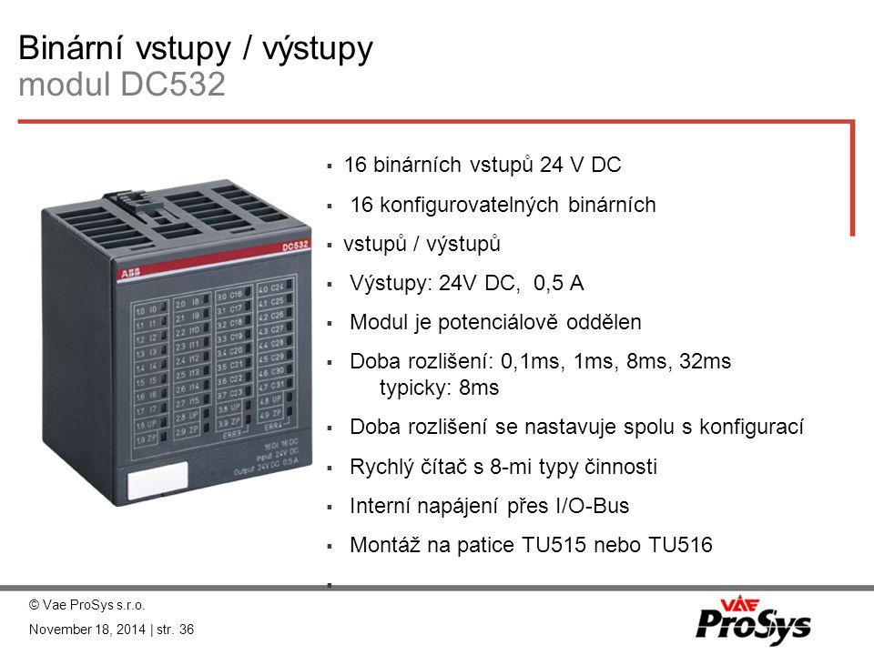 Binární vstupy / výstupy modul DC532