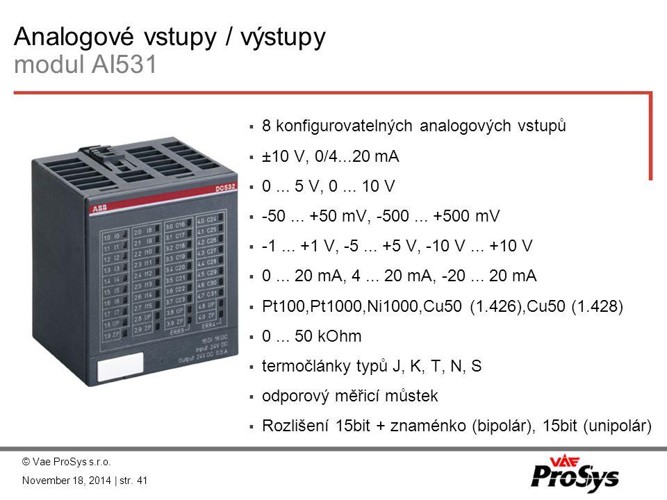 Analogové vstupy / výstupy modul AI531