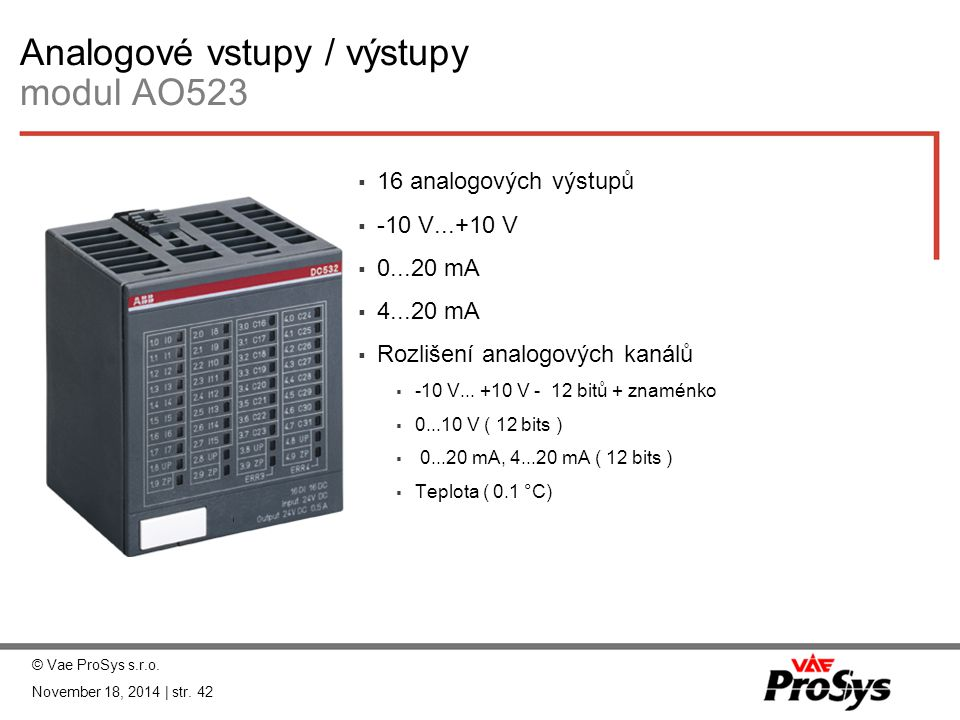 Analogové vstupy / výstupy modul AO523