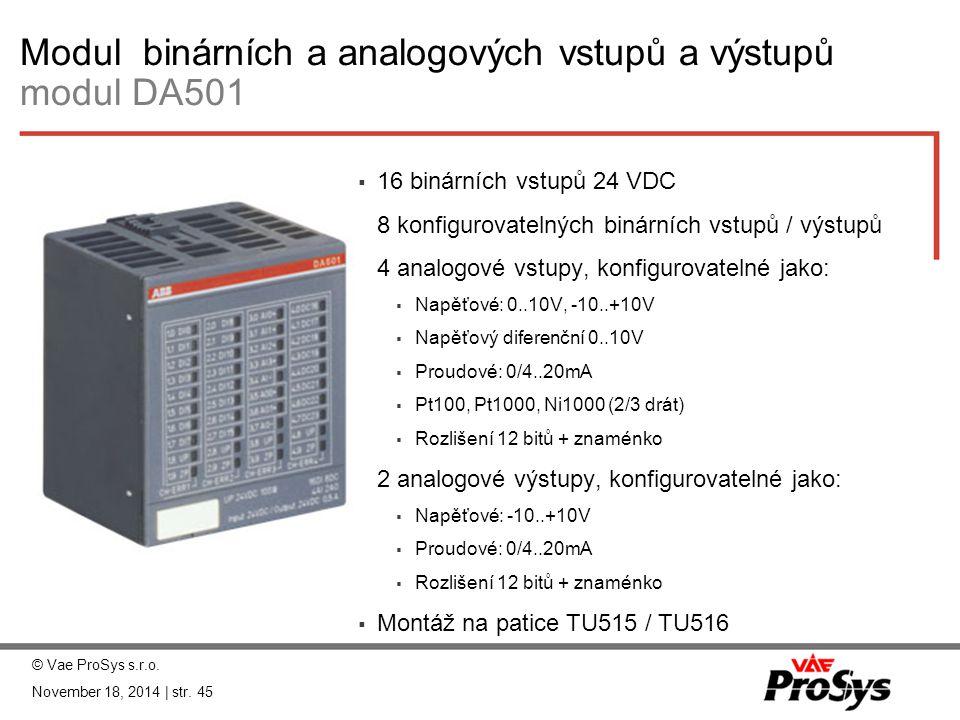 Modul binárních a analogových vstupů a výstupů modul DA501