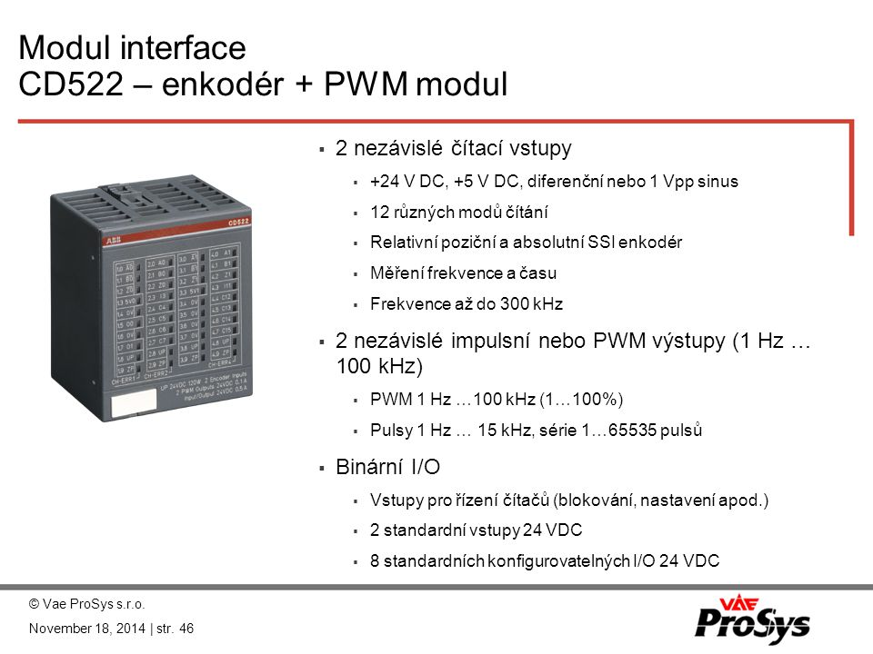 Modul interface CD522 – enkodér + PWM modul