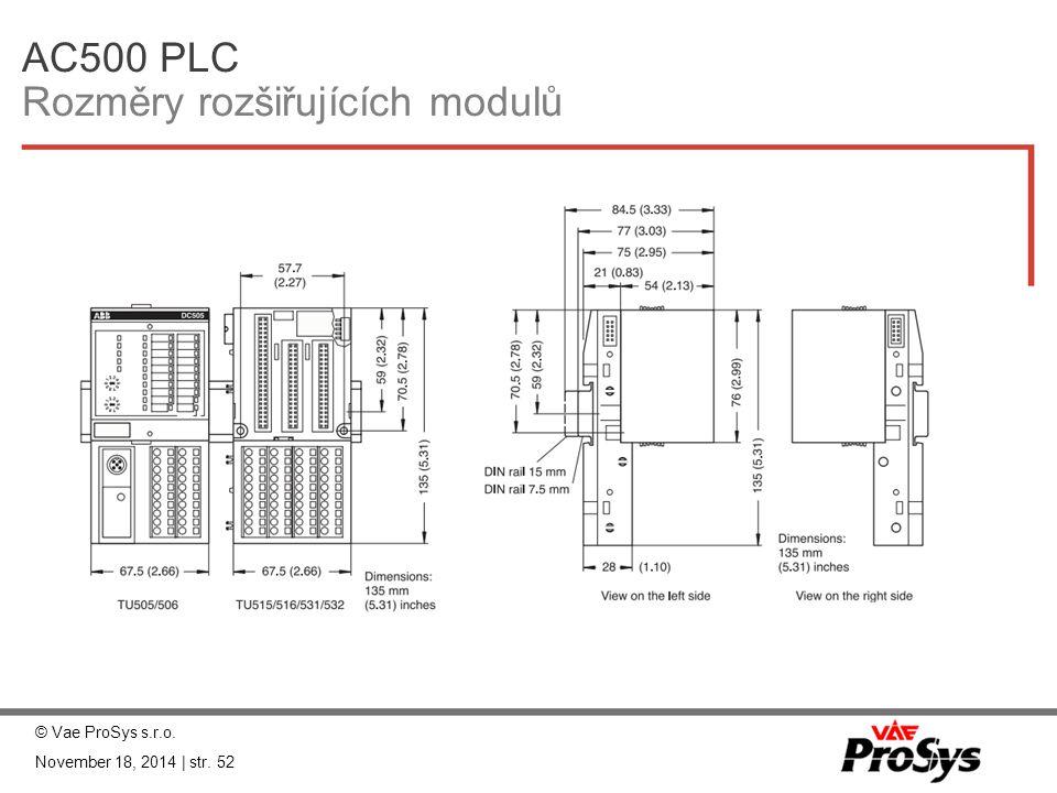 AC500 PLC Rozměry rozšiřujících modulů