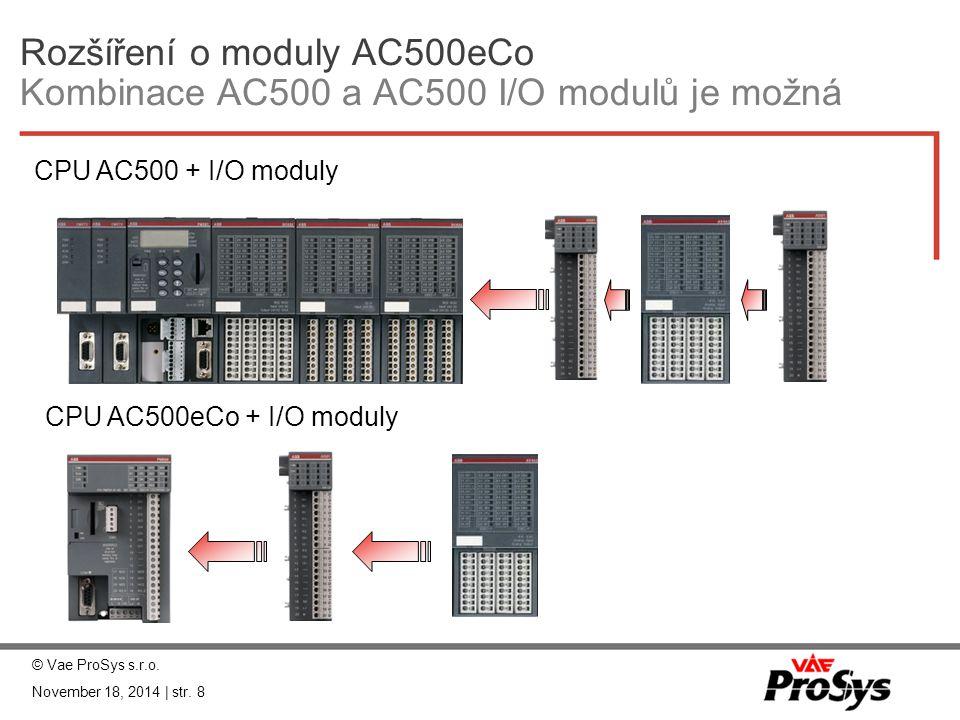 Rozšíření o moduly AC500eCo Kombinace AC500 a AC500 I/O modulů je možná