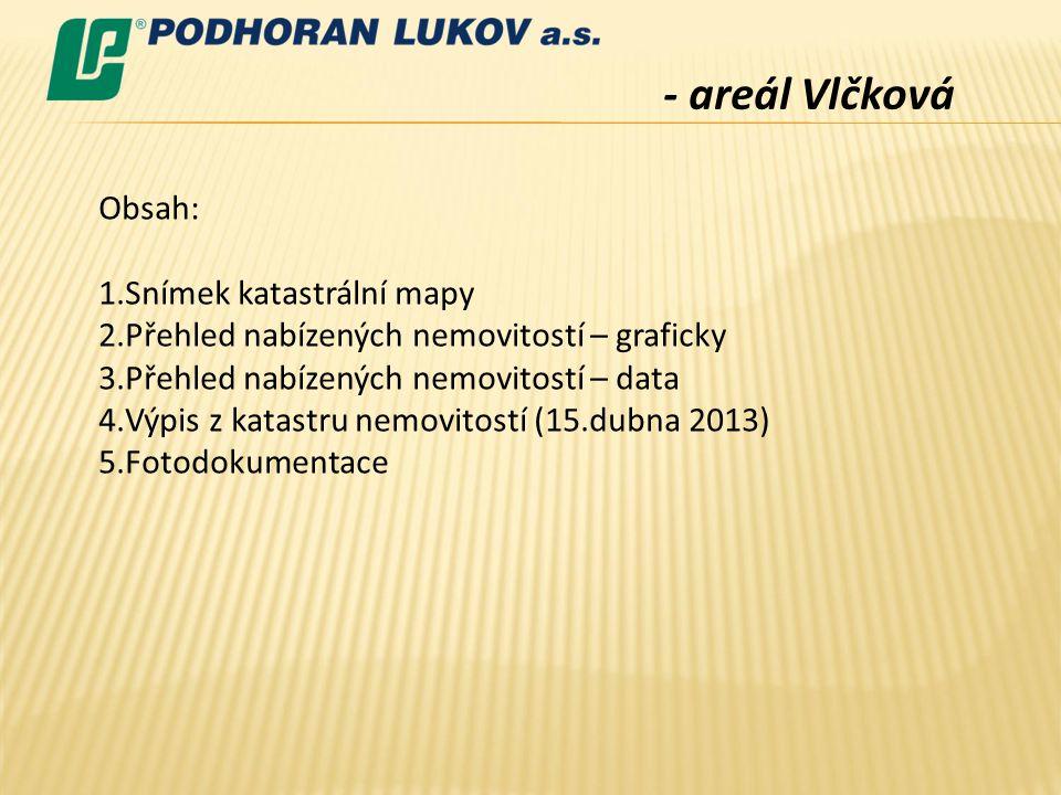 - areál Vlčková Obsah: Snímek katastrální mapy
