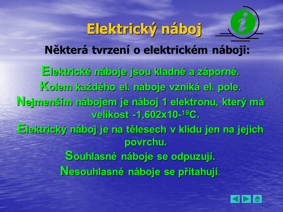 Elektrický náboj Elektrické náboje jsou kladné a záporné.