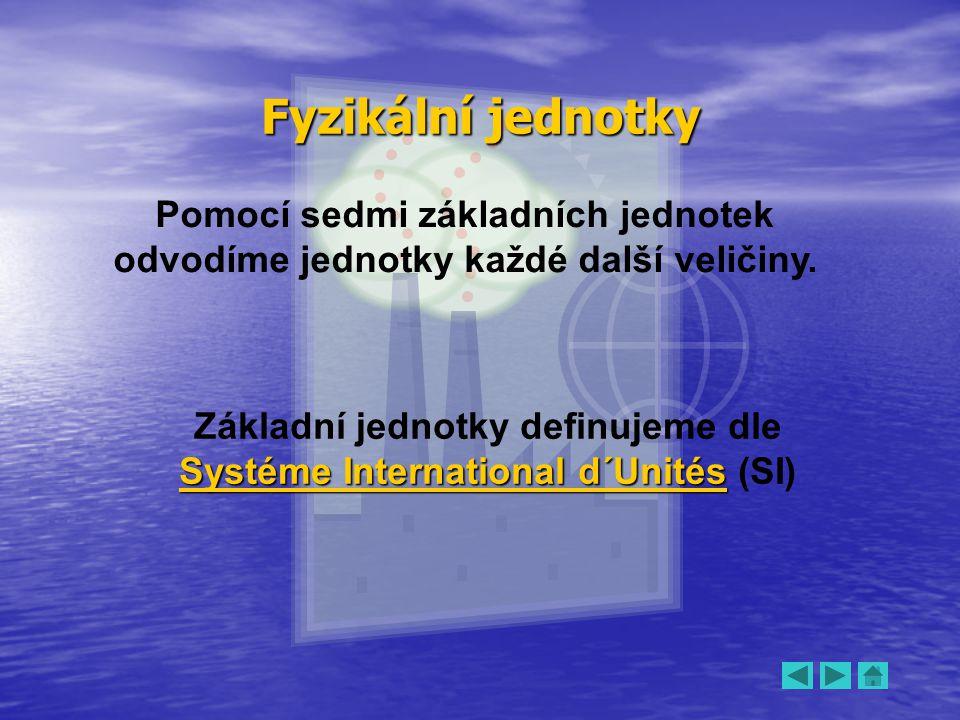 Základní jednotky definujeme dle Systéme International d´Unités (SI)