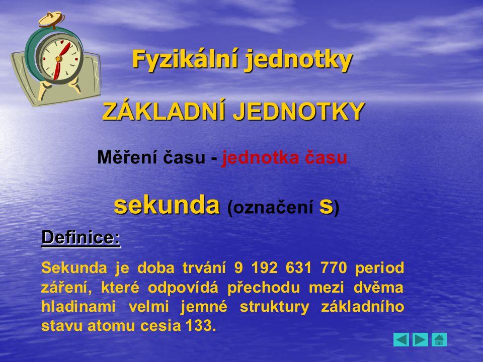 Měření času - jednotka času