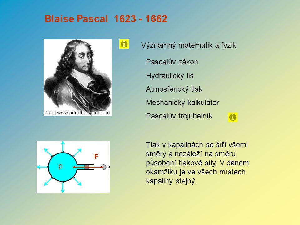 Blaise Pascal 1623 - 1662 Významný matematik a fyzik Pascalův zákon