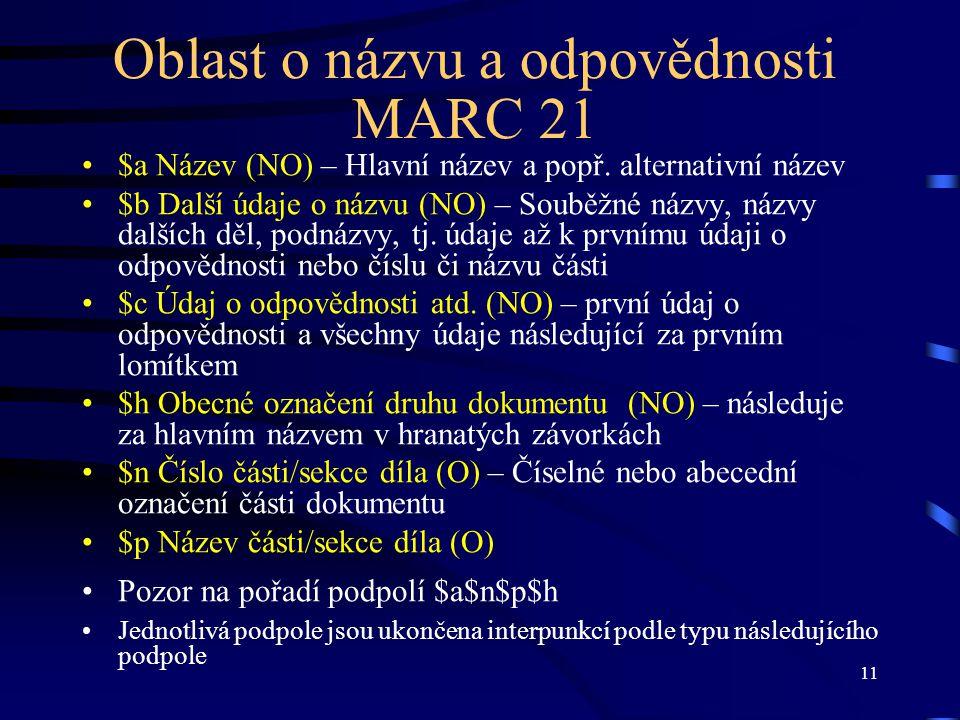 Oblast o názvu a odpovědnosti MARC 21