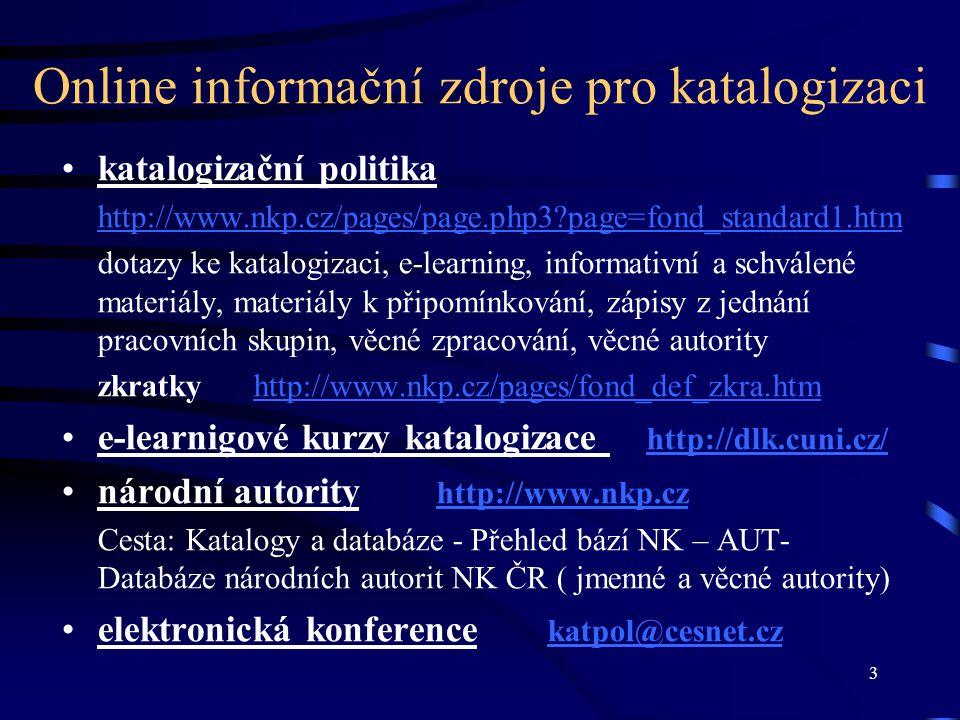 Online informační zdroje pro katalogizaci