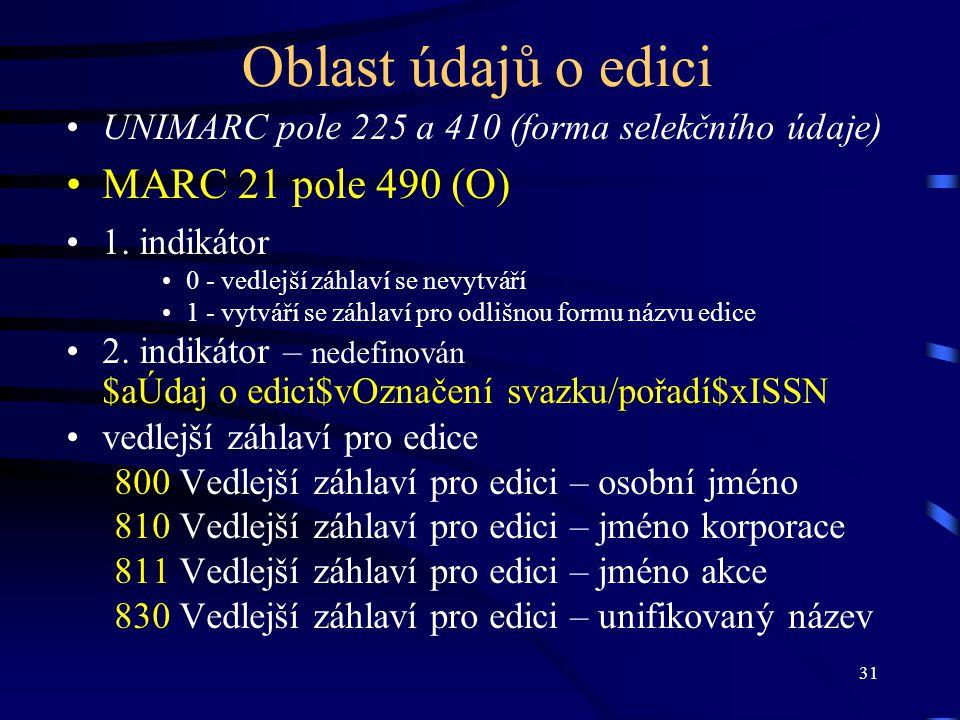 Oblast údajů o edici MARC 21 pole 490 (O)
