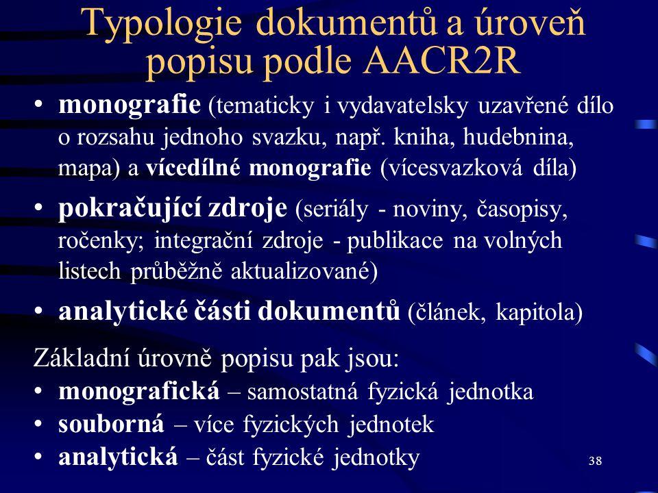 Typologie dokumentů a úroveň popisu podle AACR2R