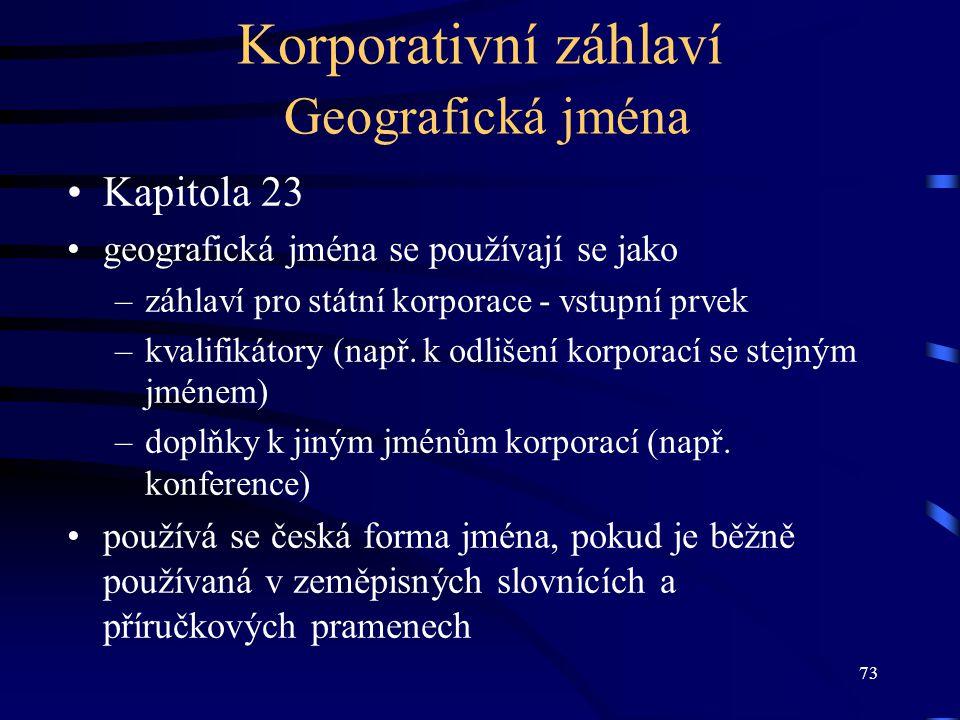 Korporativní záhlaví Geografická jména