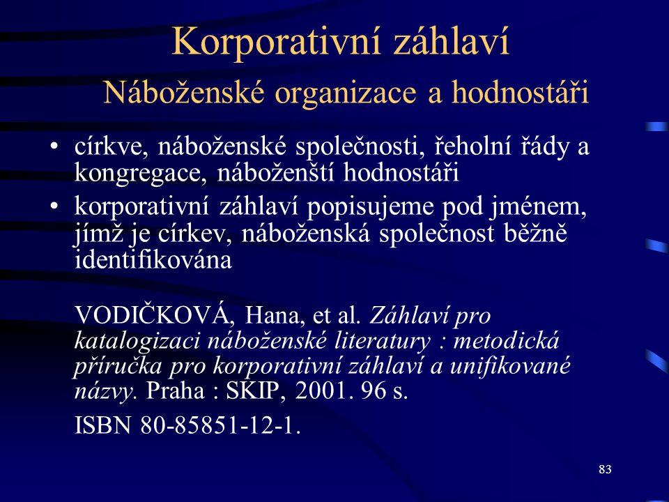 Korporativní záhlaví Náboženské organizace a hodnostáři