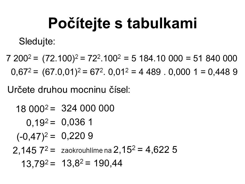 Počítejte s tabulkami Sledujte: Určete druhou mocninu čísel: 18 0002 =