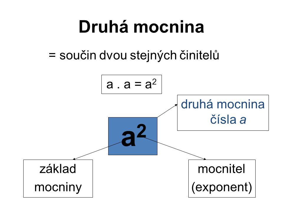 a2 Druhá mocnina = součin dvou stejných činitelů a . a = a2