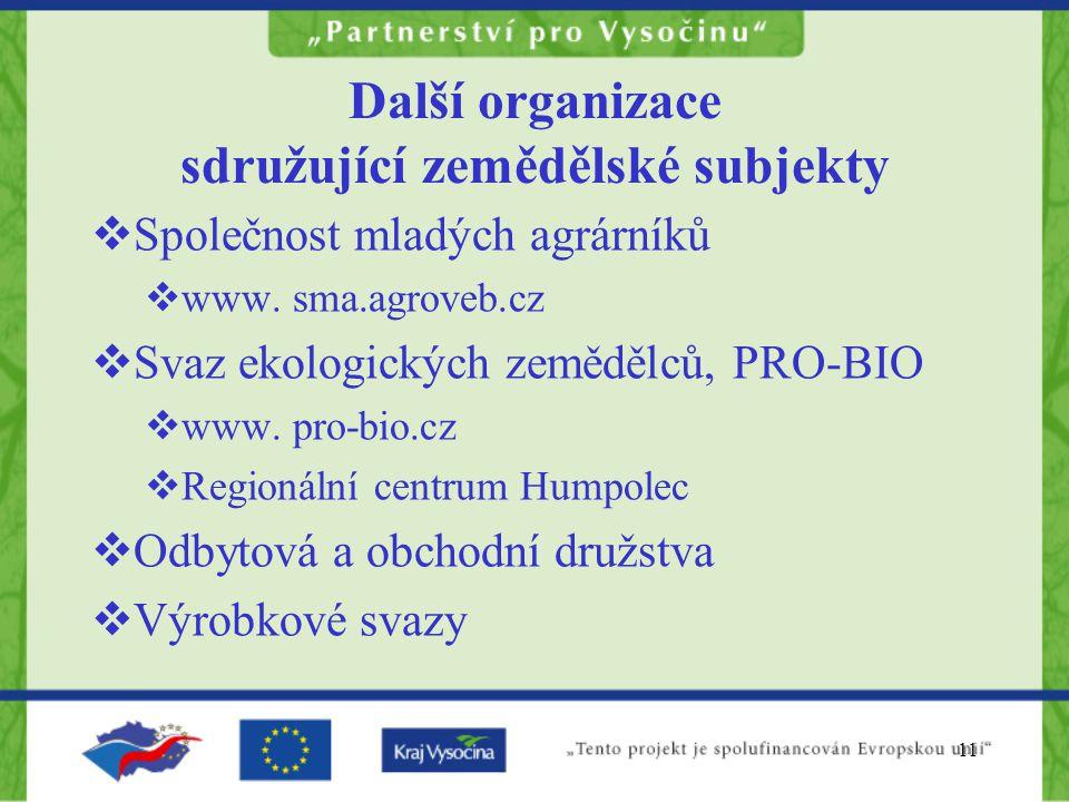 Další organizace sdružující zemědělské subjekty
