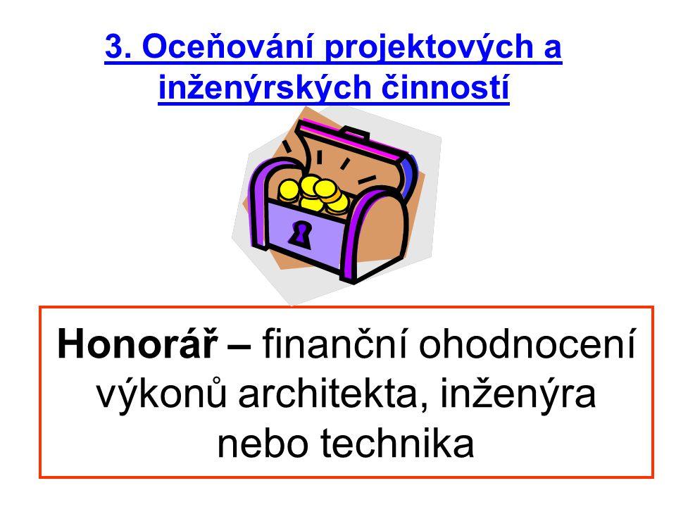 3. Oceňování projektových a inženýrských činností
