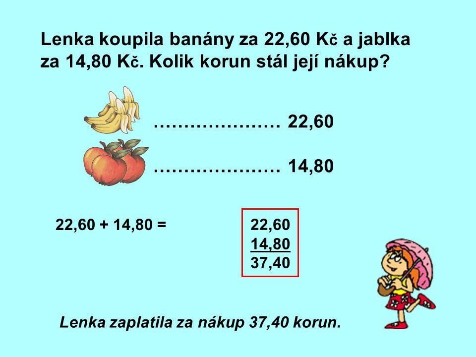 Lenka koupila banány za 22,60 Kč a jablka