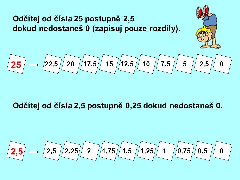 25 2,5 Odčítej od čísla 25 postupně 2,5