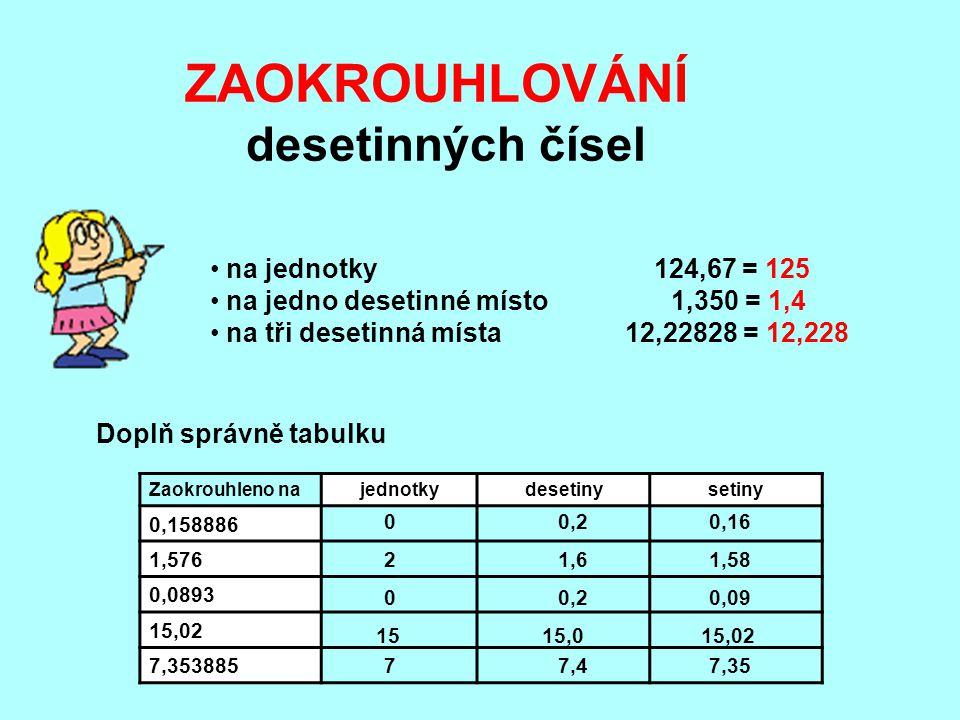 ZAOKROUHLOVÁNÍ desetinných čísel na jednotky 124,67 = 125