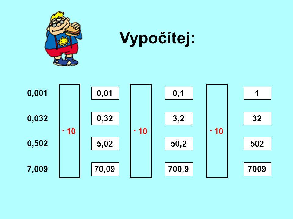 Vypočítej: · 10. · 10. · 10. 0,001. 0,01. 0,1. 1. 0,032. 0,32. 3,2. 32. 0,502. 5,02. 50,2.