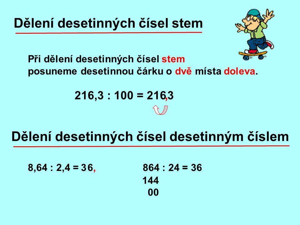 Dělení desetinných čísel stem