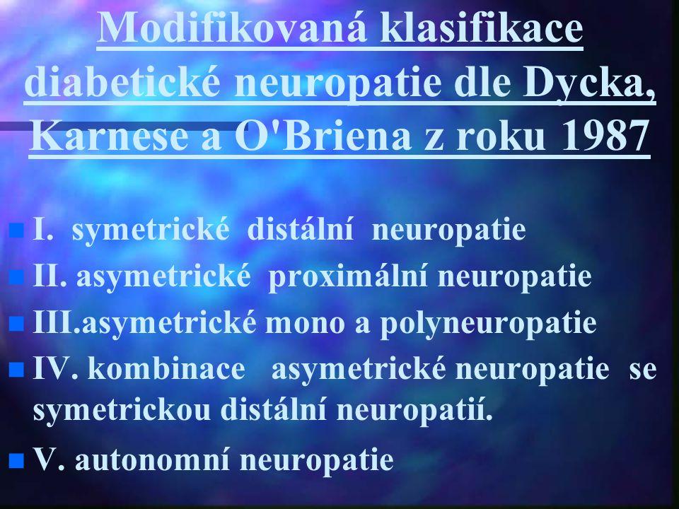 Modifikovaná klasifikace diabetické neuropatie dle Dycka, Karnese a O Briena z roku 1987