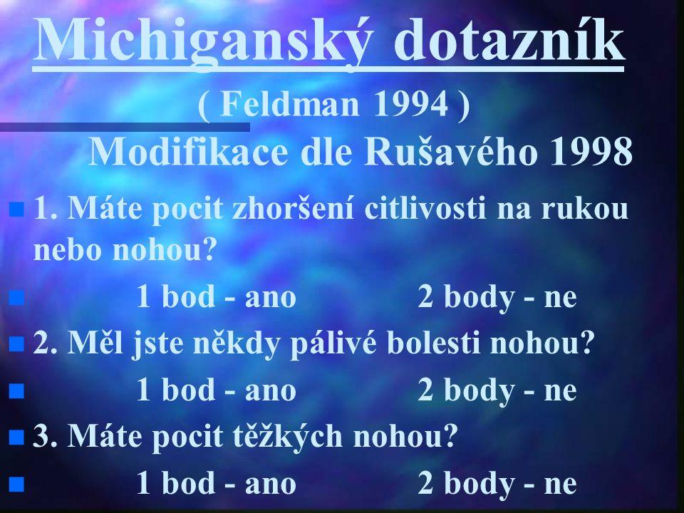 Michiganský dotazník ( Feldman 1994 ) Modifikace dle Rušavého 1998