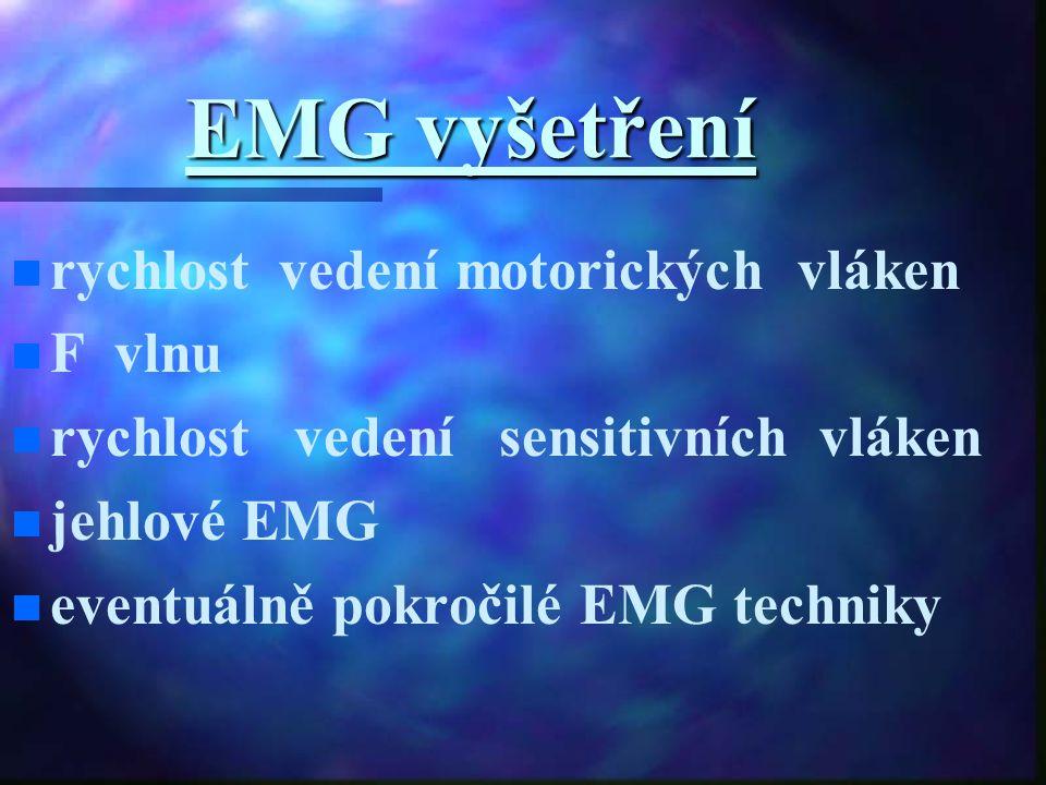 EMG vyšetření rychlost vedení motorických vláken F vlnu