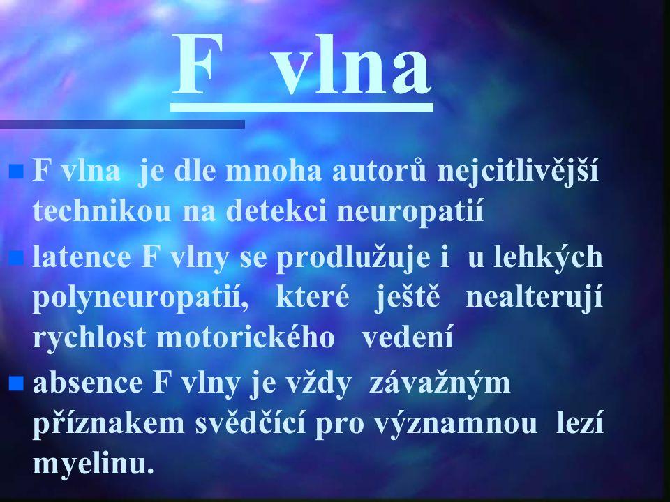F vlna F vlna je dle mnoha autorů nejcitlivější technikou na detekci neuropatií.