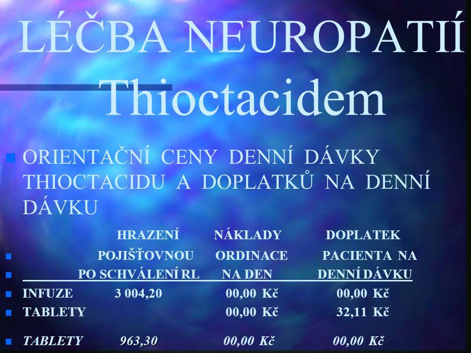 LÉČBA NEUROPATIÍ Thioctacidem