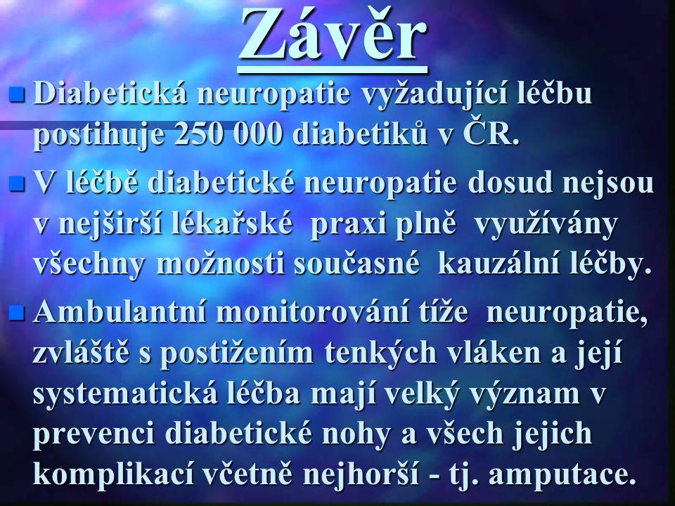 Závěr Diabetická neuropatie vyžadující léčbu postihuje 250 000 diabetiků v ČR.