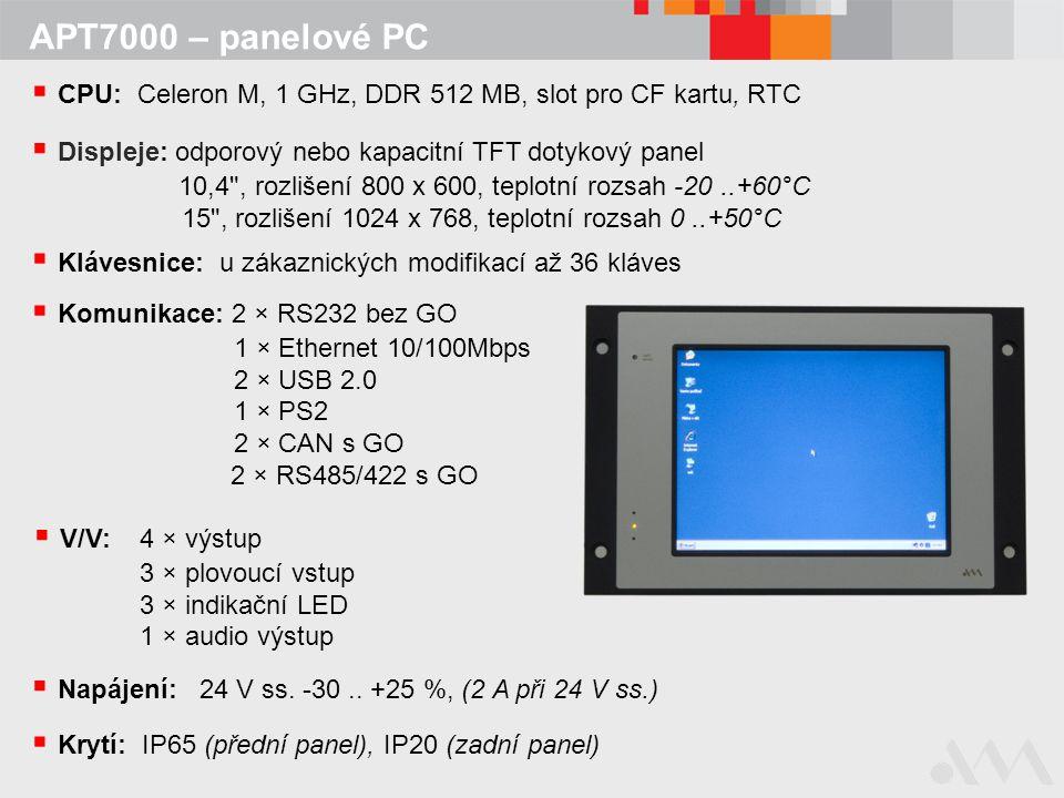 CPU: Celeron M, 1 GHz, DDR 512 MB, slot pro CF kartu, RTC