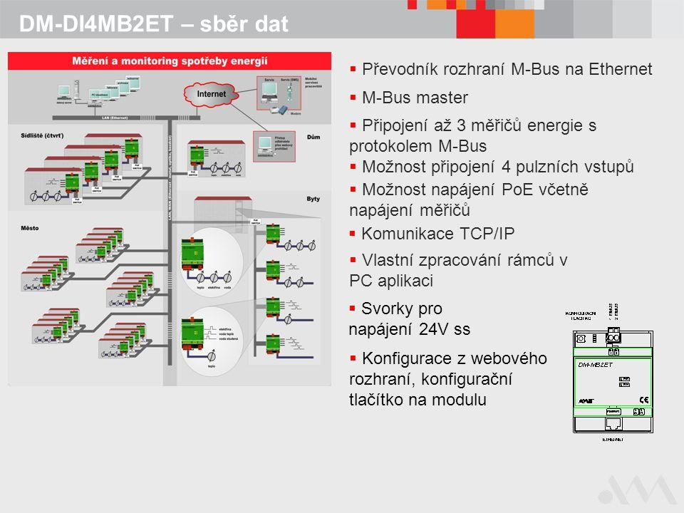 DM-DI4MB2ET – sběr dat Převodník rozhraní M-Bus na Ethernet