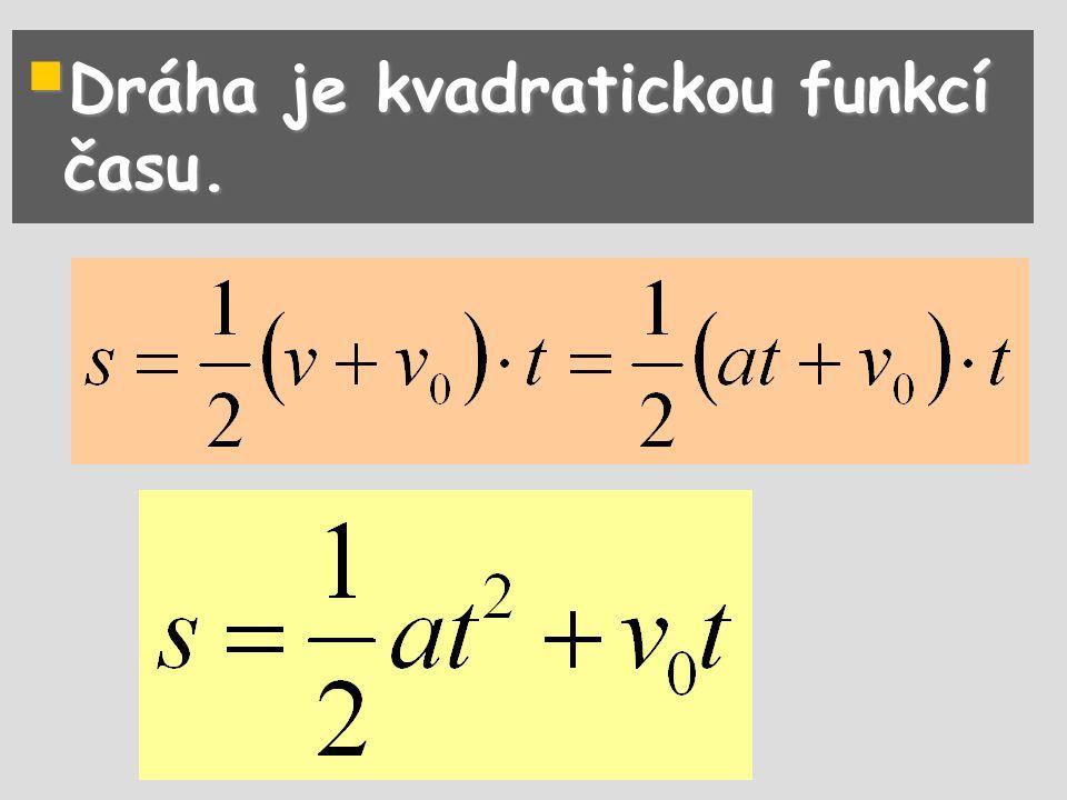 Dráha je kvadratickou funkcí času.