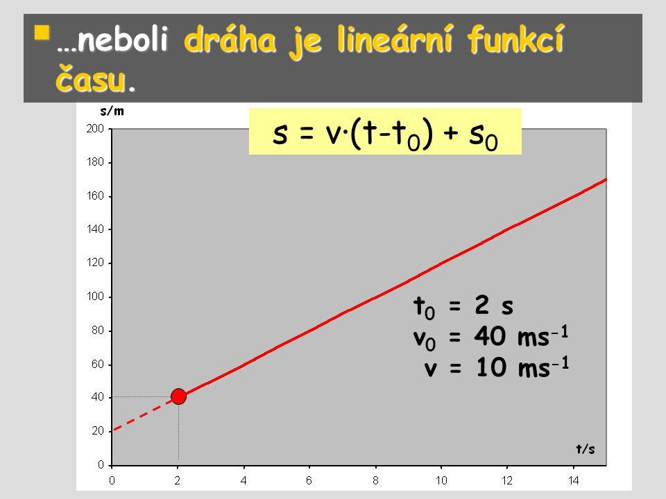 …neboli dráha je lineární funkcí času.