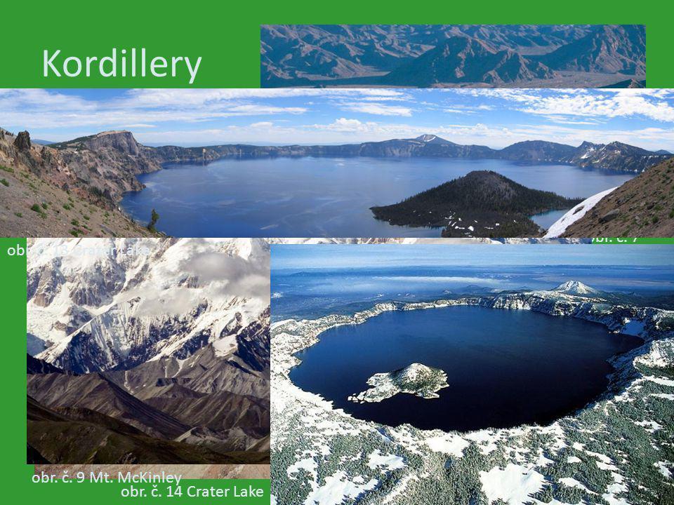 Kordillery obr. č. 7 Údolí smrti obr. č. 13 Crater Lake obr. č. 6